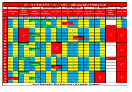 haziran 2016 pedodonti hekim çalışma planı