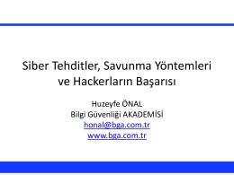 Siber Tehditler, Savunma Y  ntemleri ve Hackerlar