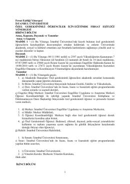 Eğitimde Fırsat Eşitliği Yönergesi - İstanbul Üniversitesi | Veteriner