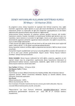 DENEY HAYVANLARI KULLANIM SERTİFİKASI KURSU 30 Mayıs