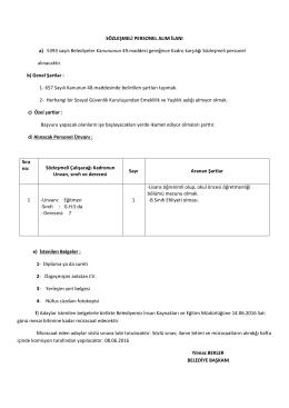 sözleşmeli personel alım ilanı