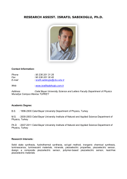 RESEARCH ASSIST. ISRAFIL SABIKOGLU, Ph.D.