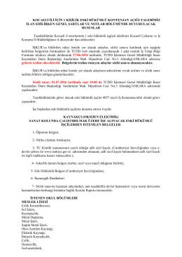 kocaeli ili için 1 kişilik eski hükümlü kontenjan açığı talebimiz ilan