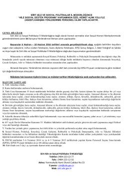 ASDEP İLANI - Siirt Aile ve Sosyal Politikalar İl Müdürlüğü