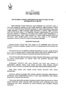 İlan Metni - Malatya İl Halk Sağlığı Müdürlüğü
