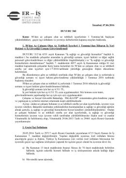 İstanbul, 07.06.2016 DUYURU 360 Konu: 50`den az çalışanı olan az
