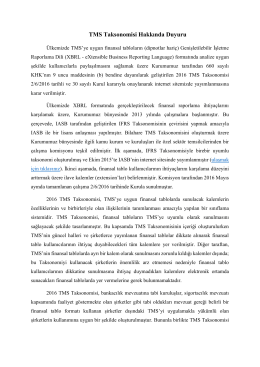 TMS Taksonomisi Hakkında Duyuru