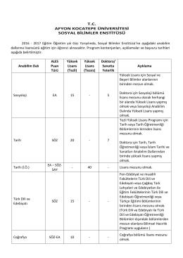 2016-2017 eğitim-öğretim güz yarıyılı öğrenci alımları