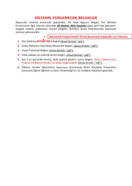 sisteme yüklenecek belgeler - Fen Bilimleri Enstitisü