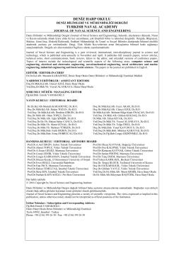deniz harp okulu deniz bilimleri mühendisliği derğisi/turkısh naval