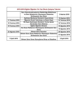 2015-2016 Eğitim Öğretim Yılı Yaz Okulu Çalışma Takvimi