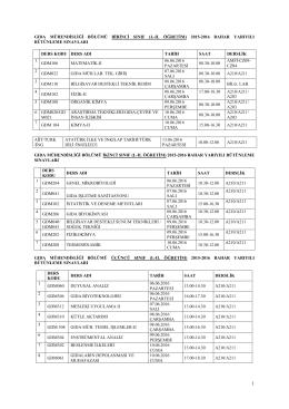 Gıda Mühendisliği Bölümü Bütünleme sınav takvimi