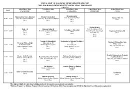 2003-2004 G?z Yarıyılı Ortak Ders Programı
