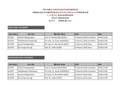 Ders Kodu Ders Adı Öğretim Üyesi Tarih Saat KLP501 Erişkin