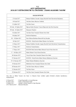 Bahar Dönemi - Hitit Üniversitesi