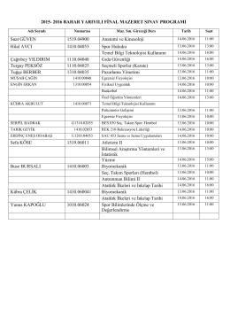 2015- 2016 BAHAR YARIYILI FİNAL MAZERET SINAV PROGRAMI