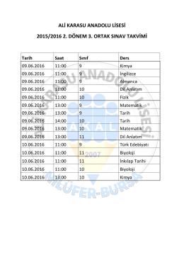 ali karasu anadolu lisesi 2015/2016 2. dönem 3. ortak sınav takvimi
