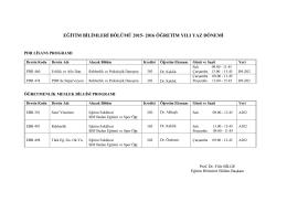 eğitim bilimleri bölümü 2015- 2016 öğretim yılı yaz dönemi