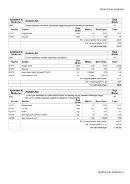2016 Birim Fiyat Analizleri