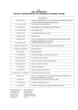 Güz Dönemi - Hitit Üniversitesi