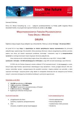 drupa 2016 - informacje dla firm zainteresowanych udziałem w