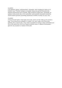 CLASSIC Linia gładkich rajstop, podkolanówek i skarpetek