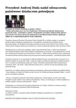 Prezydent Andrzej Duda nadał odznaczenia państwowe działaczom