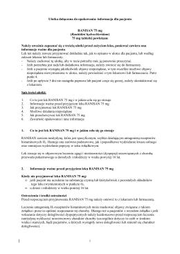 informacja dla pacjenta RANISAN 75 mg