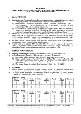Zasady kwalifikacji zawodników Polskiego Związku