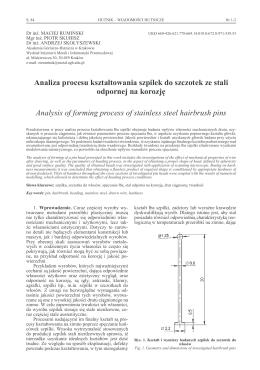 Analiza procesu kształtowania szpilek do szczotek ze - SIGMA-NOT