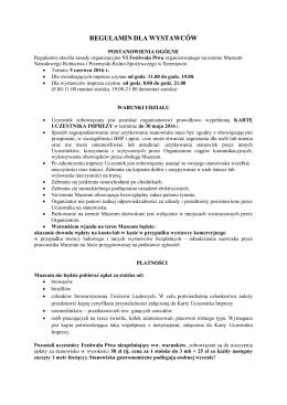 regulamin dla wystawców - Muzeum Narodowe Rolnictwa i