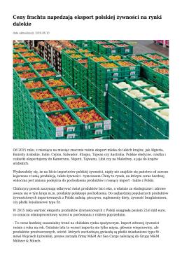 Ceny frachtu napedzają eksport polskiej żywności na rynki dalekie