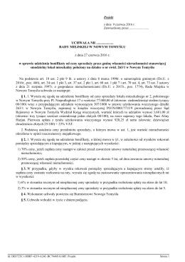 e) udzielenia bonifikaty od ceny sprzedaży przez gminę własności