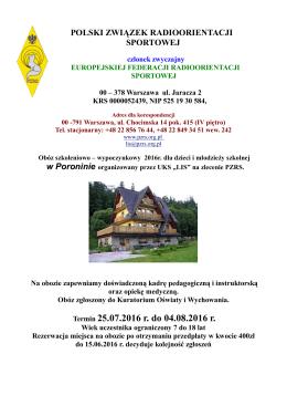 Informator - Poronin 2016 - Polski Związek Radioorientacji Sportowej