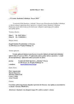 KOMUNIKAT NR 1 - Letnia Akademia Unichokeja
