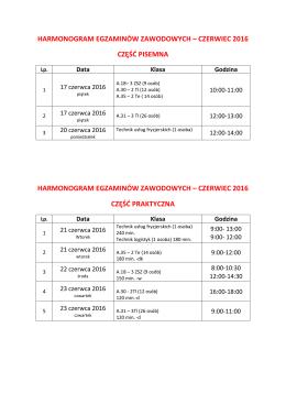 Harmonogram egzaminów 2016