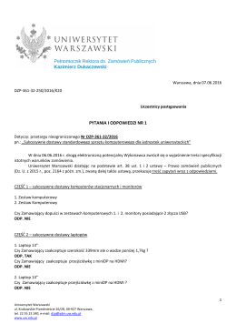 pytania i odpowiedzi nr 1 - Dział Zamówień Publicznych
