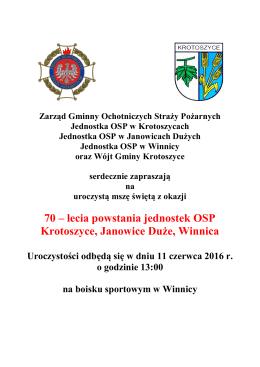 70 – lecia powstania jednostek OSP Krotoszyce, Janowice Duże