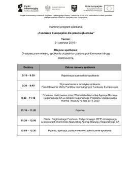 """Ramowy program spotkania """"Fundusze Europejskie dla"""