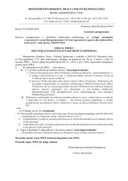 Zmiana treści SIWZ - 08.06.2016 - Ministerstwo Rodziny, Pracy i