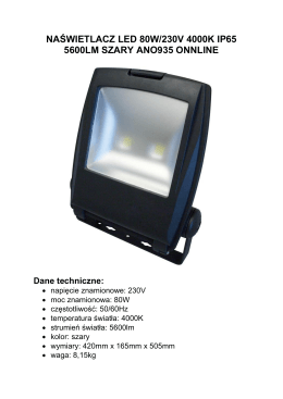 naświetlacz led 80w/230v 4000k ip65 5600lm szary ano935 onnline