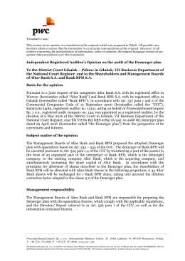 Independent Registered Auditor`s Opinion on the audit of the