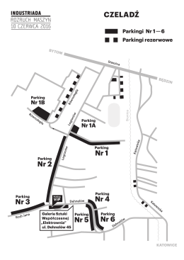 mapką dojazdu z parkingami.
