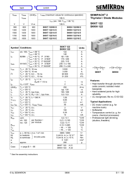 SEMIPACK® 2 Thyristor / Diode Modules SKKT 122