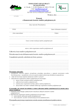 Wniosek o finansowanie kosztów studiów podyplomowych