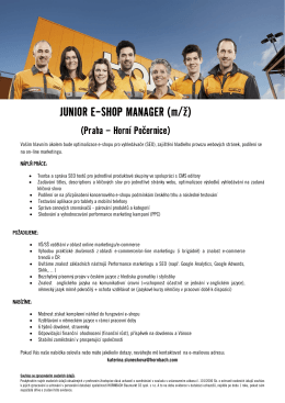 JUNIOR E-SHOP MANAGER (m/ž)