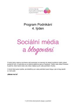 pracovní list Sociální média a blogování