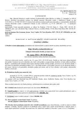Oznámení o nařízení elektronické dražby