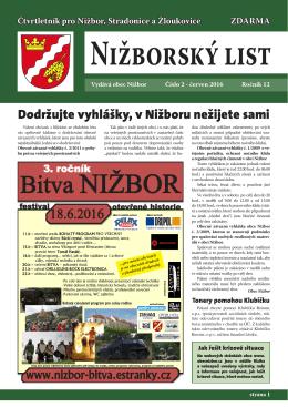 Bitva NIŽBOR - Obec Nižbor