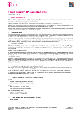 Popis služby IP komplet DSL - T